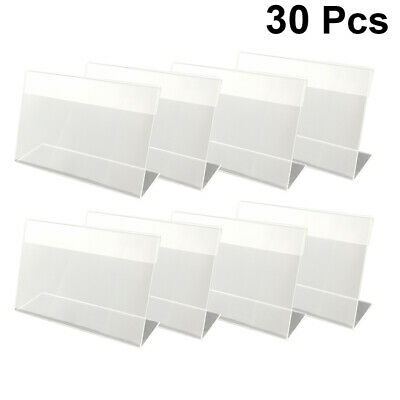 30Pcs Transparent Plastic Acrylic Price Tags Shelf Label Holder With Price Card • 6.61£