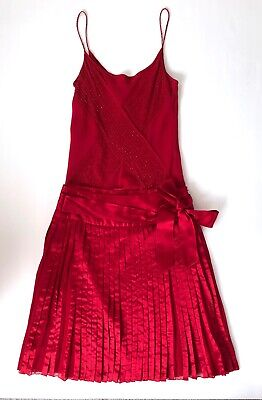 AU16 • Buy Massimo Dutti_Red Silk Skirt & Singlet Top_Size S