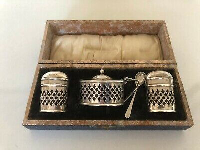 4 Piece Silver Plated Cruet Set All With Bristol Blue Liners • 39.99£