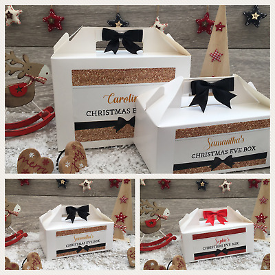 Personalised Christmas Eve Box Treat Gift Favour Present Bow Glitter Effect • 5.30£