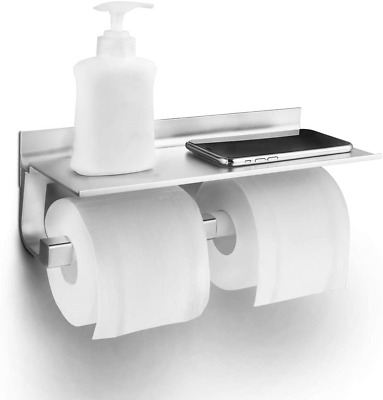 Toilet Roll Holder, Double Toilet Paper Holder With Spacious Storage Shelf, Rust • 15.90£