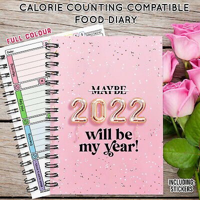 £4.95 • Buy A5 CALORIE DAILY FOOD/DIET DIARY Weight Loss, STICKERS COUNTDOWN/ LOG🌈2022 BOOK