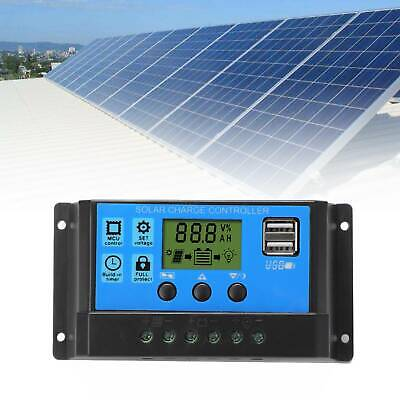 LCD Solar Panel Battery Regulator Charge Controller Dual USB Tool 12V/24V 30A A8 • 7.49£