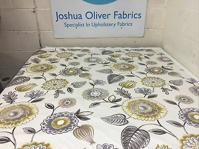 Ochre & Grey Floral Cotton Blend Furnishings Fabric Free P&P • 8£