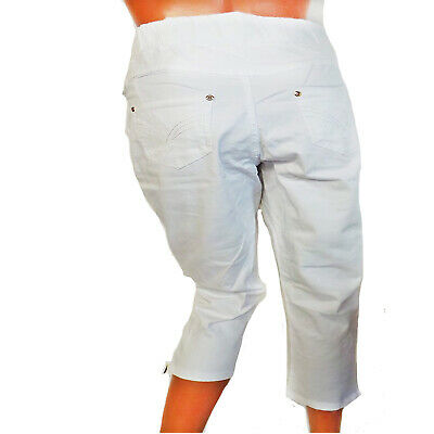 Ladies White Cropped Legged Jeggings Trousers - Jean Style - UK Size 14/16  • 12.99£
