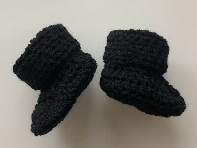 Handmade Crocheted/Knitted Baby Cuffed Booties 0-3,3-6 & 6-9 In Black • 4.99£