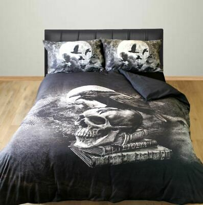 Alchemy Gothic Double Bed Duvet Cover Set Poe's Raven Skull Black Birds Crow • 46.99£