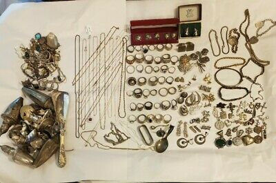 $ CDN1585.67 • Buy All SOLID Sterling Silver Wearable(660g) & Scrap(419.4g) Lot Necklaces Rings Ect