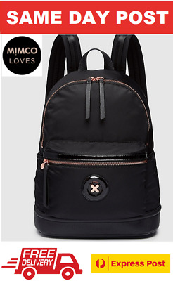 AU120 • Buy Mimco Daydream Zip Backpack Black With Rose Gold Bnwt Rrp$199- Free Express Post