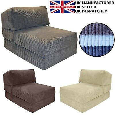 £44.99 • Buy WAFFLE CORDUROY CHAIR Z BED Single Fold Out Chairbed Folding Guest Sofa Bed Foam