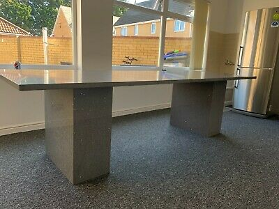 Dining Table Stone Grey Mirror Chips Quartz 20mm Thick 1800mm X 800mm Seats 8  • 600£