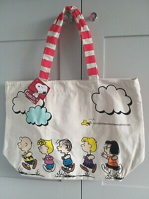 JAPAN SNOOPY & FRIENDS PEANUTS CANVAS BAG , HANDBAGS TOTE BAG , RARE Extra Large • 24£
