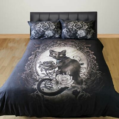 Alchemy Gothic King Size Duvet Cover Set Paracelsus Cat Floral Mirror • 50.99£