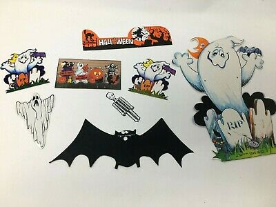 $ CDN19.82 • Buy Lot Of 8 Vintage Halloween Die Cut Decorations Ghosts Jack-O-Lanterns
