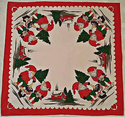 $ CDN27.44 • Buy Vintage Christmas Decoration Dwarfred Green Cotton Blend 31  Square Tablecloth