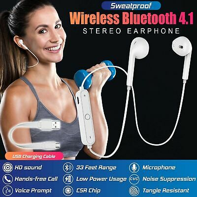 Wireless Headphones Earphones Sports In-Ear Bluetooth 4.2 Stereo Headsets W Mic • 6.49£