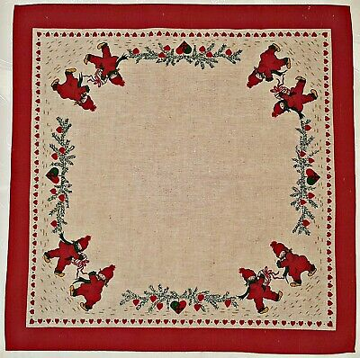 $ CDN25.48 • Buy Vintage Christmas Gift Hearts Frame Red Gray Linen Blend 24  Tablecloth