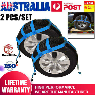 AU42.99 • Buy (1 Pair) 17 -21  TOW DOLLY ADJUSTABLE STRAPS, CAR TRANSPORT TIE DOWN BLUE