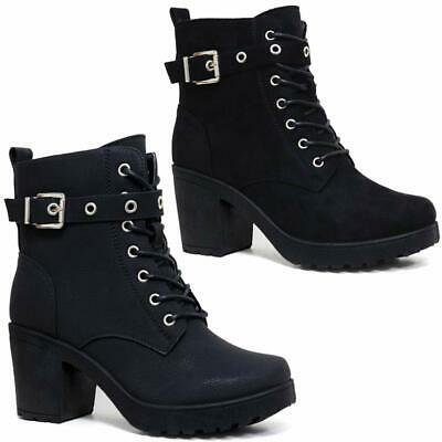 Ladies Chunky Block High Heel Shoes Ankle Chelsea Army Military Boots Shoes  • 19.95£