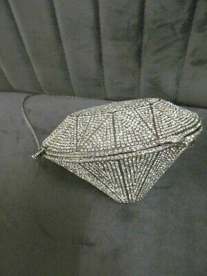 Diamond Shape METAL Clutch Hand Bag With 'Crystal' Style Embellishment, Lined  • 45£