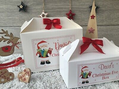 Personalised Christmas Eve Box Treat Gift Favour Present Bow Santa • 5.30£