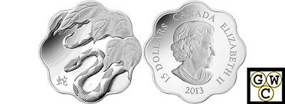 $ CDN88.55 • Buy 2013Year Of The Snake Lunar Lotus-Scallop Shaped $15 Silver Coin Fine(NT)(13054)