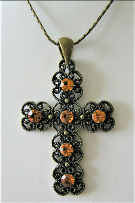 1 NEW NECKLACE & EARRING SET CROSS PENDANT 17  AMBER COLOUR CRYSTALS 43cm CORD  • 4.99£