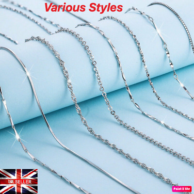 New 925 Sterling Silver Plated Chain Necklace Belcher Figaro Snake Curb Chain UK • 3.13£