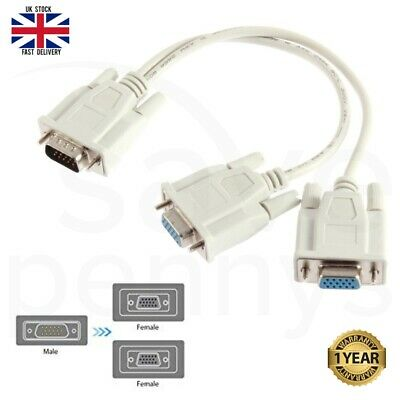 VGA/SVGA Male To 2 Female Splitter 2Way Y Adapter Cable PC Monitor TV Dual Video • 2.99£