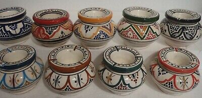 HAND PAINTED CERAMIC 2 PIECE ASHTRAYS * From MOROCCO ~ ASSORTED DESIGNS • 7.99£
