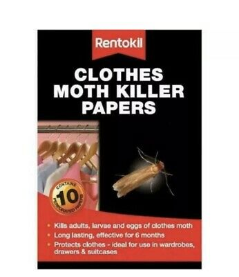 Rentokil Clothes Moth Killer Papers 10 Strips Pack Kills Adults, Larvae And Eggs • 4.95£