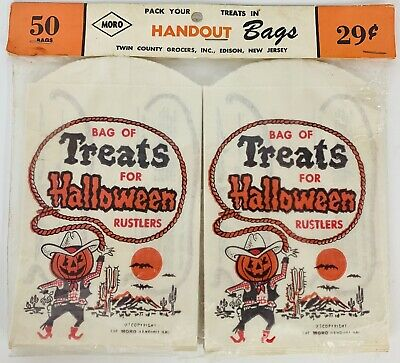 $ CDN157.25 • Buy Vintage 1950's Halloween Rustlers NEW Paper Trick Or Treat Party Candy Bag Lot