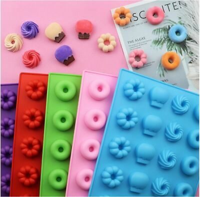 AU14.99 • Buy Mini Donut Mold Silicone Tray Ice Cube Jelly Gummy Candy Mould Stencil