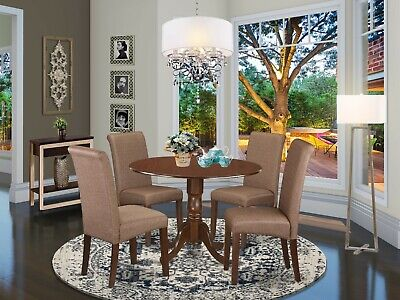 $530 • Buy 5pc Dinette Kitchen Dining Set Round Pedestal Table + 4 Parsons Chairs Mahogany