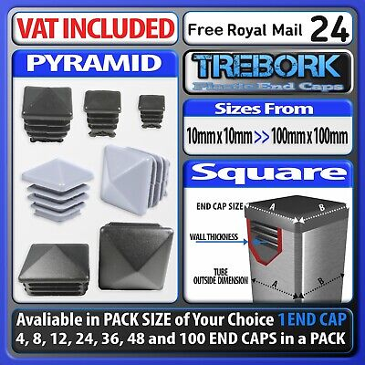 Square Pyramid Plastic End Caps Blanking Plugs Tube Box Section Inserts • 18£
