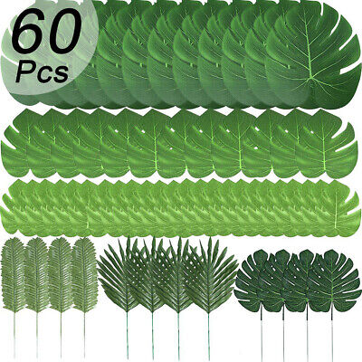 60x Tropical Hawaiian Artificial Palm Leaves Foliage Luau Party Decoration Green • 12.33£