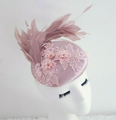 Blush Pink Feather Lace Hair Fascinator Satin Hat Wedding Ascot Races • 30.60£