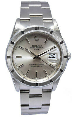 $ CDN6513.21 • Buy Rolex Oyster Perpetual 34mm Steel Mens Silver Dial Watch D 15210 NOS Box/Papers