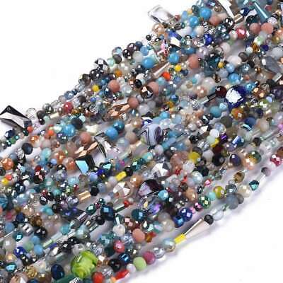 £2.75 • Buy Mixed Strand Glass Beads Different Shapes Sizes Colours Bead Soup 15  Strand