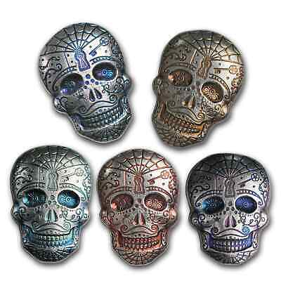 AU264.63 • Buy 5 Oz Hand Poured Silver Skull - Day Of The Dead: Spiderweb