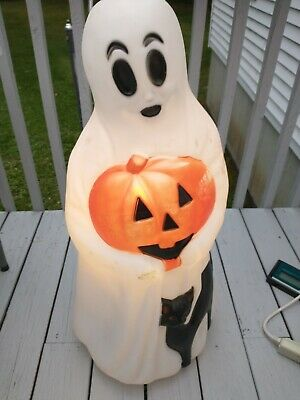 $ CDN113.08 • Buy Vintage Empire Halloween 34  Lighted Blow Mold Ghost With Black Cat Yard Decor