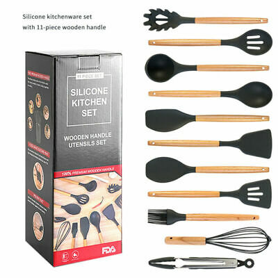 AU34.98 • Buy 11x Silicone Cooking Utensil Set Wooden Handle Home Kitchen Nonstick Pan Tool