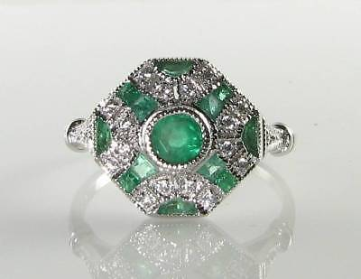 £349 • Buy LARGE 9k 9CT WHITE GOLD COLOMBIAN EMERALD DIAMOND ART DECO INS RING FREE RESIZE
