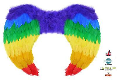 Halloween Rainbow Pride Colour Feather Wings Bird Parrot Fancy Dress Accessory • 11.99£
