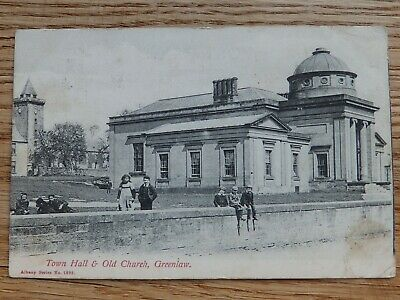 Children At Town Hall & Old Church, GREENLAW, Berwickshire. Albany Series #1823 • 16£