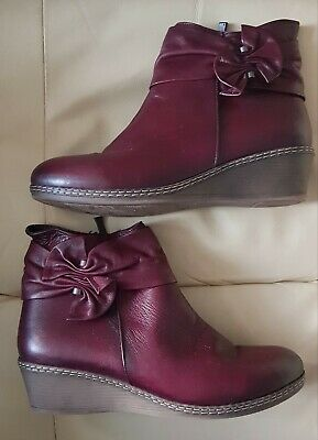 Pavers Womens Burgundy Leather Ankle Boots Soft Cushioning Feather-Light Bows • 24.99£
