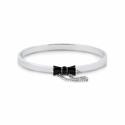 £32 • Buy Disney Couture Kingdom Minnie Mouse White Gold-Plated Black Bow Bangle