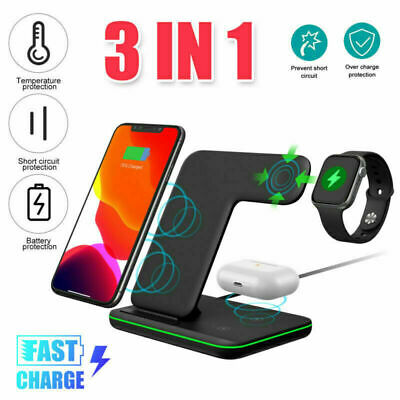 AU39.67 • Buy 3in1 Qi Wireless Charger Fast Charging Dock Stand For Apple Watch IPhone 12 Pro
