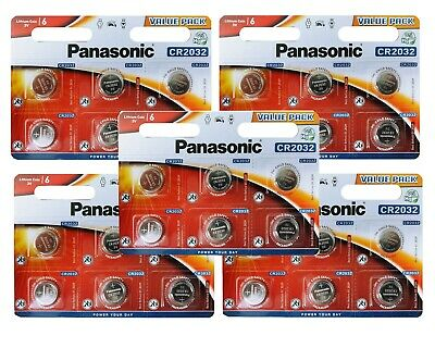 30 Panasonic CR2032 Lithium Coin Cell 2032 3V Battery Car Key Fobs Toys Remote • 9.99£