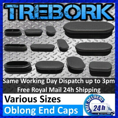 Oblong Plastic End Caps Blanking Plugs Tube Box Section Inserts Furniture • 12.60£